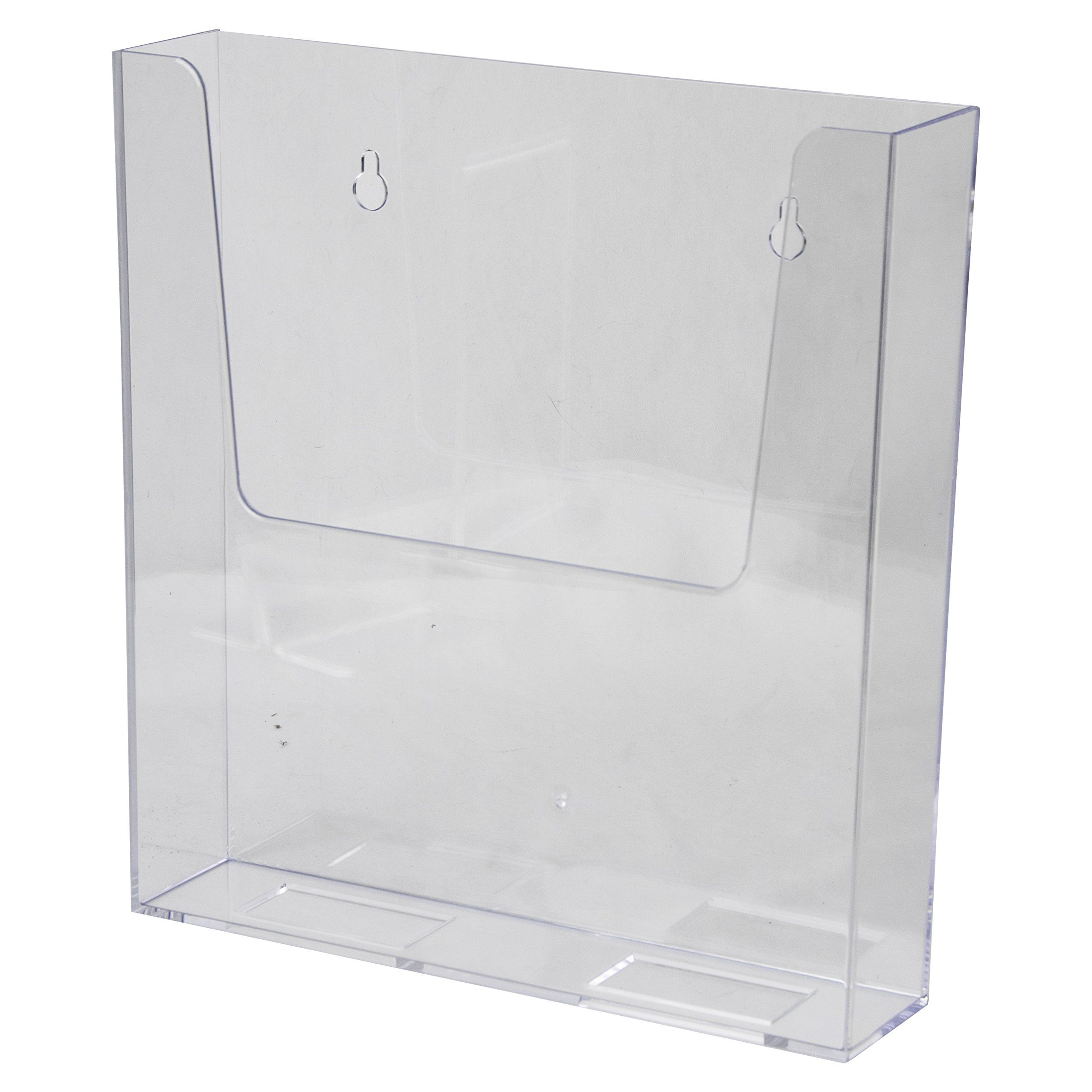 Clearad Lhwm161 Clear Acrylic Adhesive Or Wall Mount Brochure Holder 8 5x11 Plastic Flyer Display Brochure Holders Plastic Hanging Work Space Organization