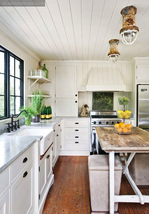 A Plank Ceiling In The Kitchen Chatfield Court Kitchen Inspirations Home Kitchens Coastal Kitchen