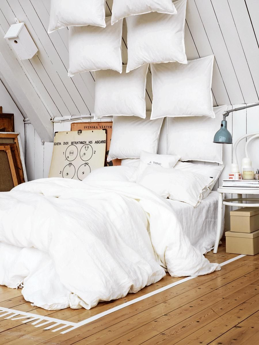 white bedroom interior design ideas  pictures  romantic  - pillows can be so much more than what they are traditionally used for  asseen in these examples featuring some pretty creative pillow headboardideas