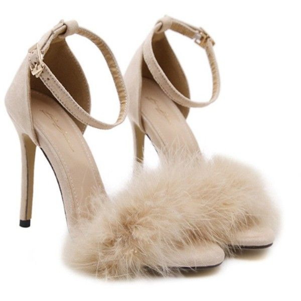 4d7f02c101c MMJULY Women s Open Toe Ankle Strap Fluffy Feather Stiletto High Heel...  ( 30