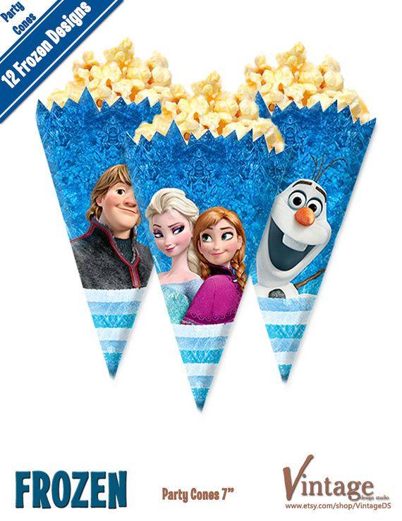 Disney Frozen Birthday Party Cones Images digital file DIY Olaf Sven Anna Elsa Hans Kristoff