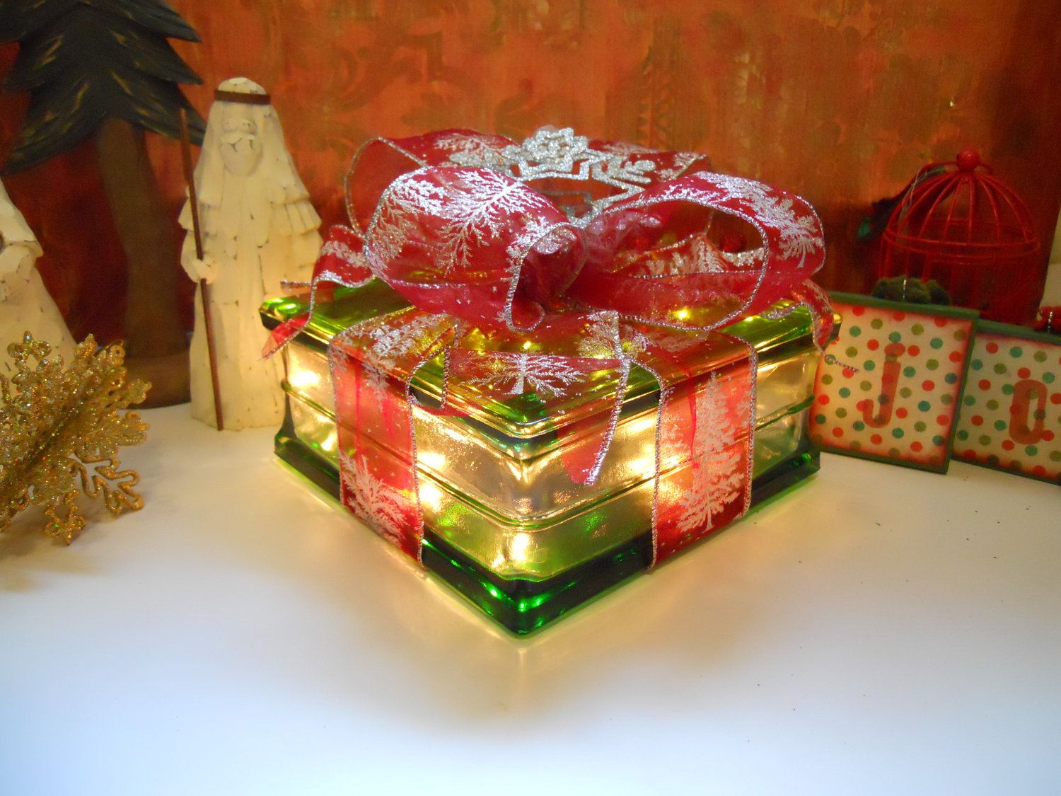 19 ideas for christmas decorated glass blocks - Glass Block Christmas Decorations