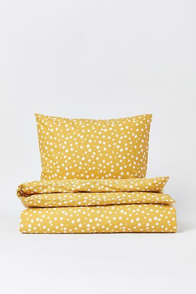 Patterned Duvet Cover Set Yellow White Dotted Home All H M Ca Duvet Cover Sets Duvet Cover Pattern Duvet Covers