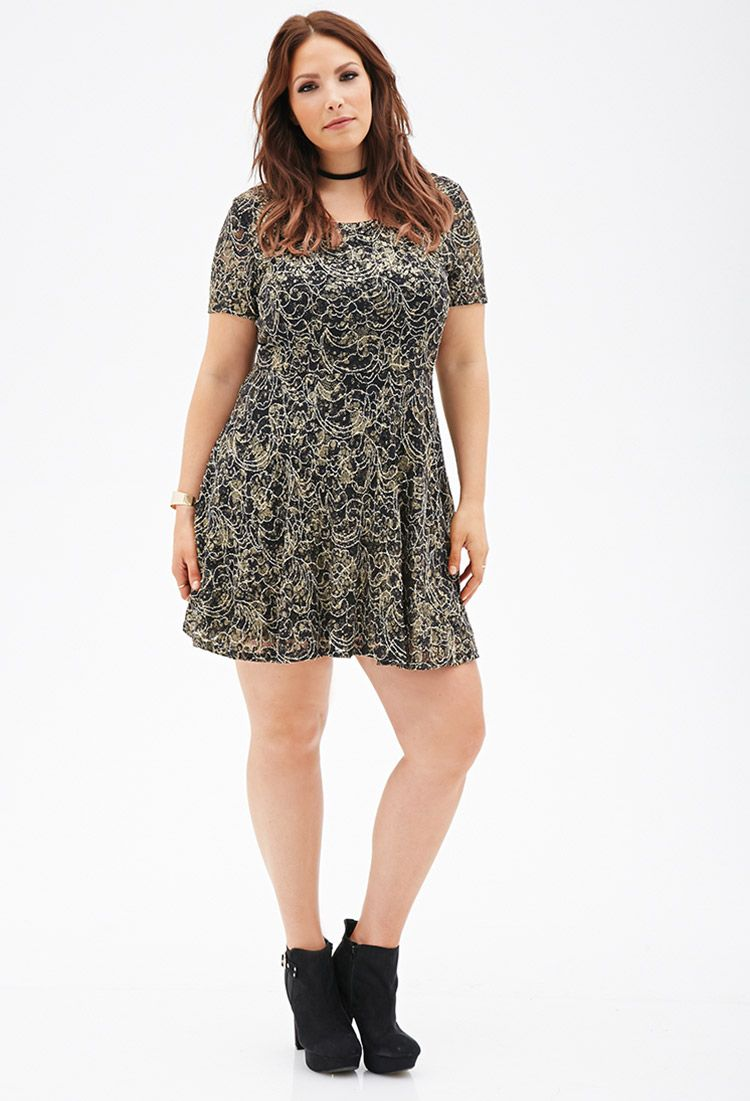 Metallic Lace Fit Amp Flare Dress To Wear With Boots And