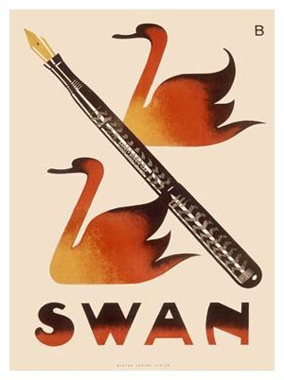 Mabie Todd & Co advertising poster introducing the Swan Safety Screw Cap Fountain Pen Co.