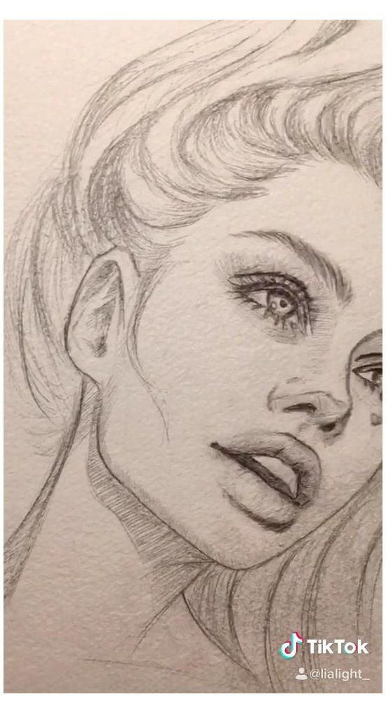 Photo of girl face drawing