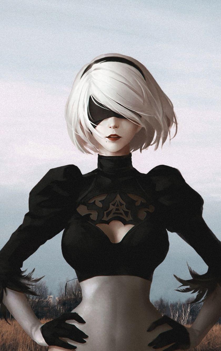 White Hair Yorha No 2 Type B Nier Automata Warrior Artwork