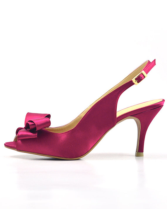 Fuchsia Wedding Shoes Dark Pink Slingback Pump Deep Pink Satin