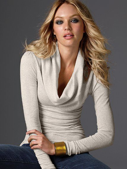 Ruched Cotton Cowlneck Sweater #VictoriasSecret http://www ...