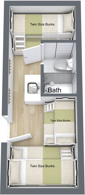 The bunkhouse with bath custom container living homes - Shipping container bathroom design ...
