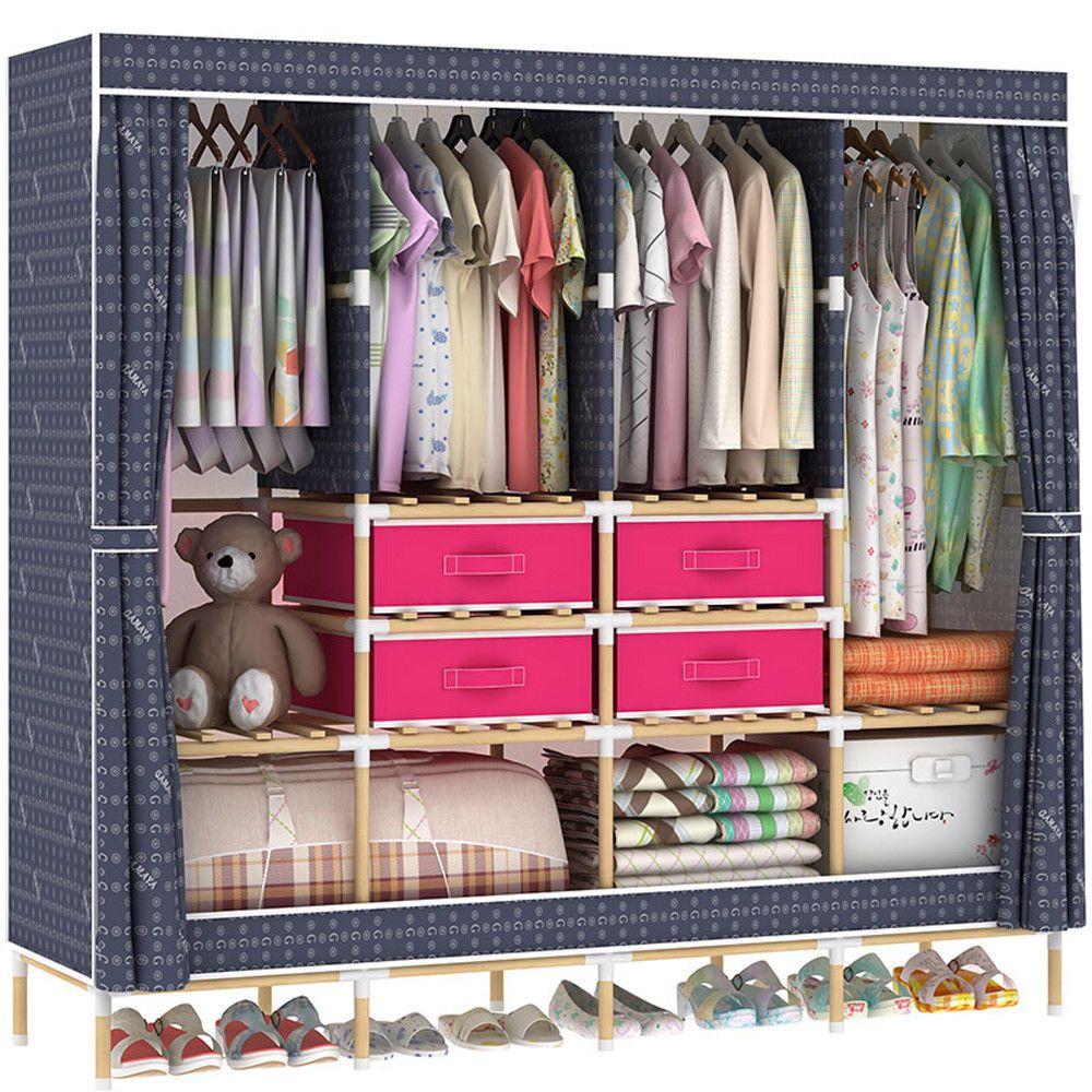 Huge Wooden Portable Closet 4 Rods Bedroom Wardrobe Storage Free 4
