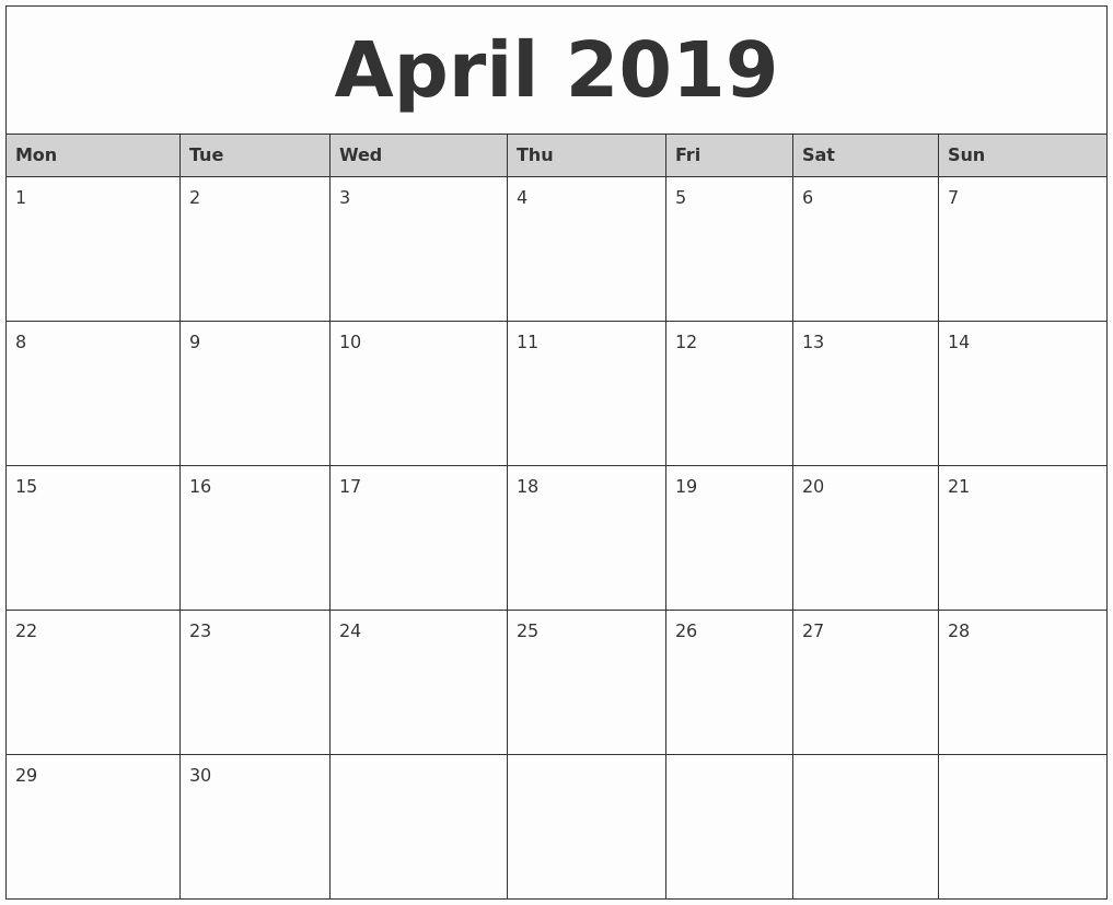 Elegant 30 Sample Free Printable Calendar March April May June 2019