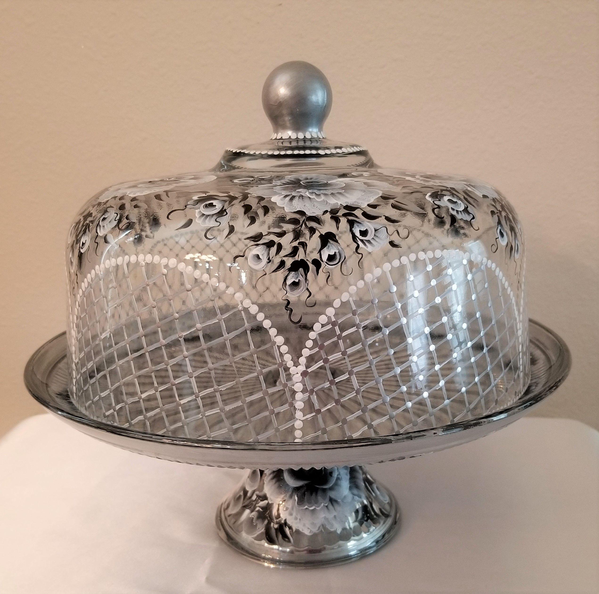 Glass cake stand dome pedestal plate black white hand