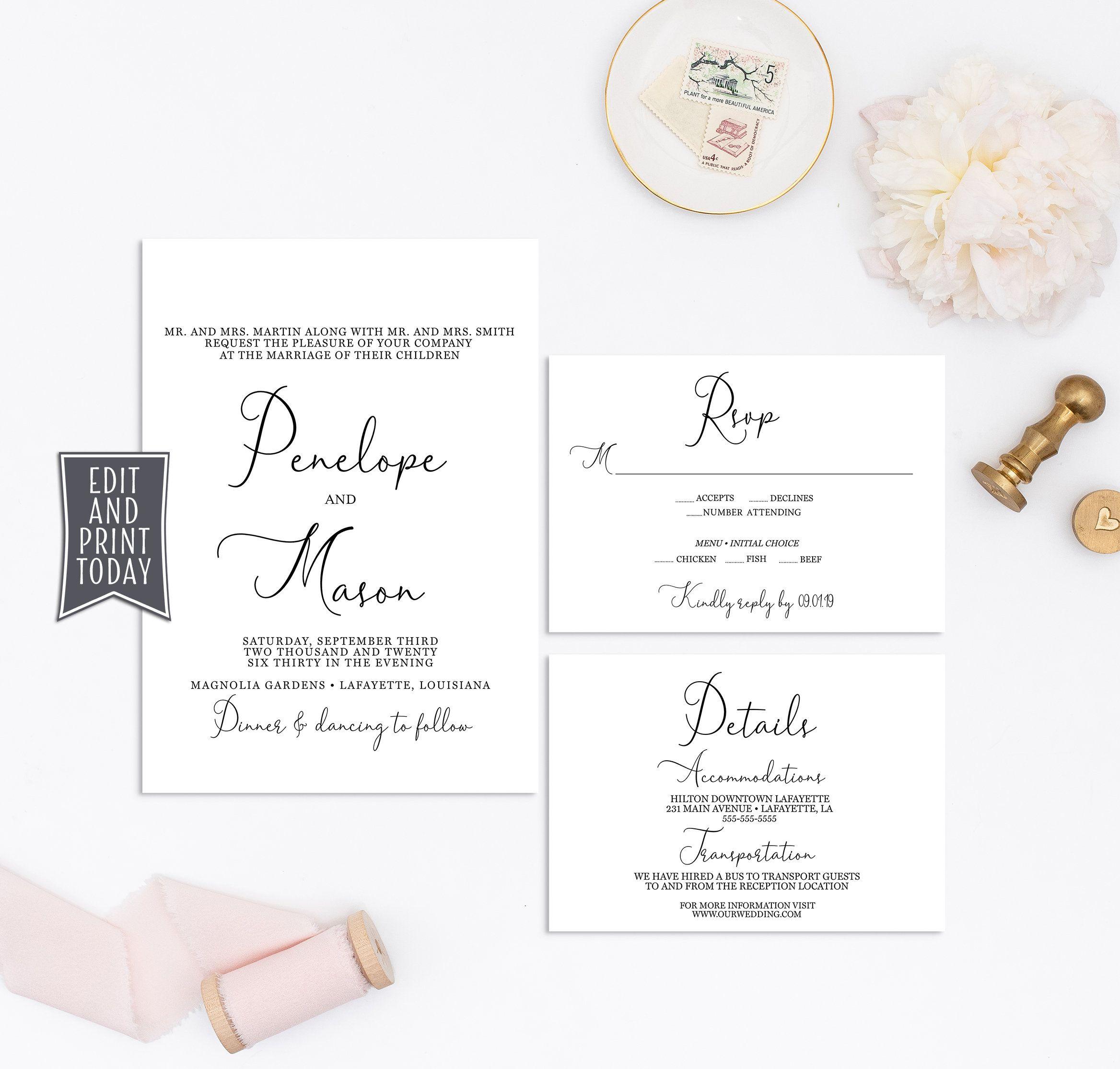 Elegant wedding invitation set rsvp details card