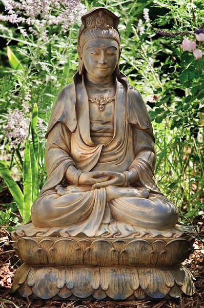 Perfect Seated Kuan Yin Garden Statue   Buddha Garden Statues Garden Statues