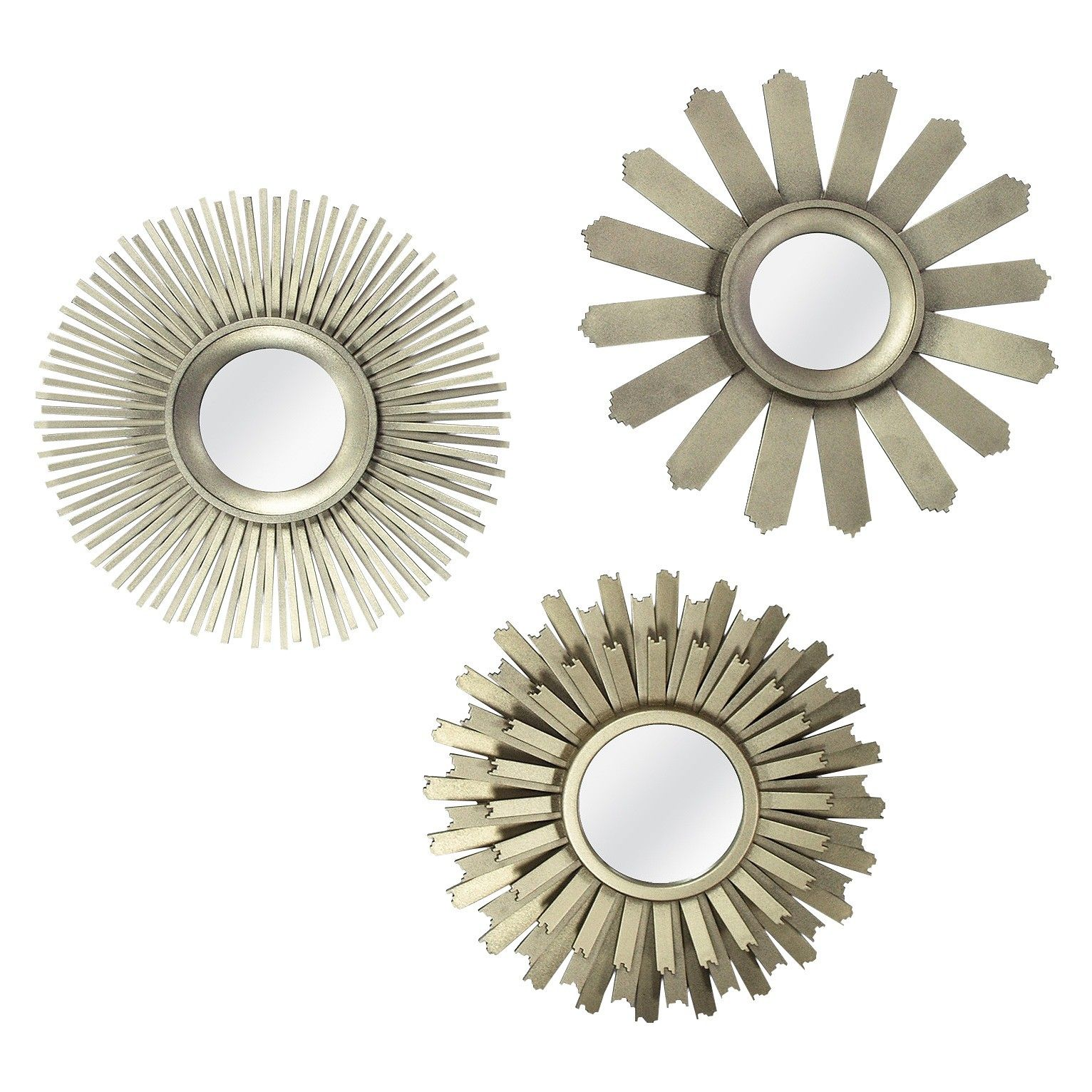 Wire capiz sunburst wall mirror - Threshold Starburst Mirror Set 3 Pieces Use Two In Gallery Wall And One On Shelves
