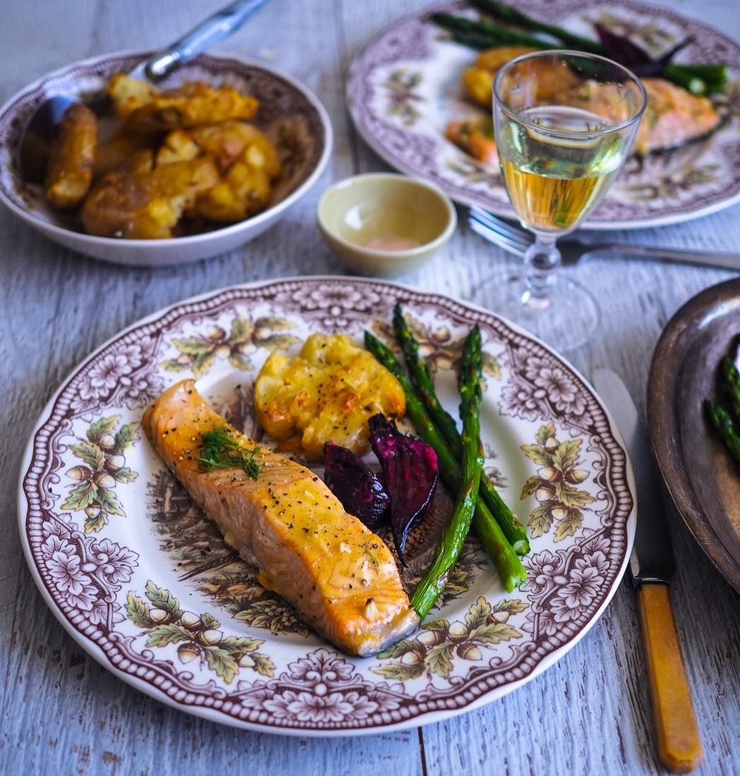 Image may contain food Honey mustard salmon, Cooking