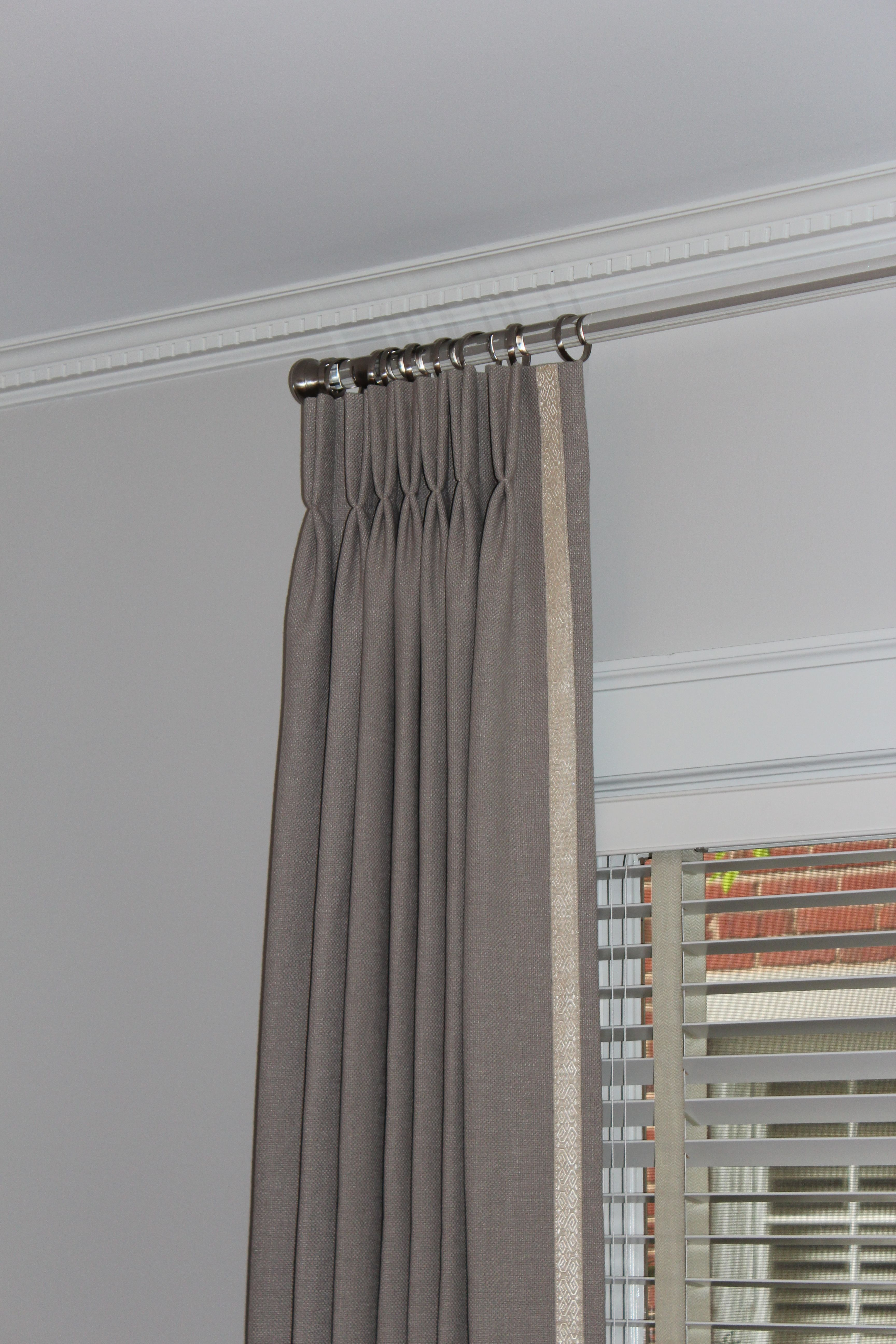 Pinch pleat panels with leading edge trim draperypanels curtains panels pinterest - Estor para ducha ...