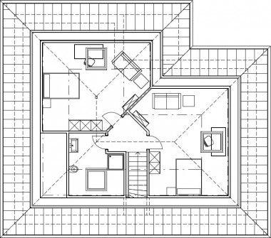 Winkelbungalow schlüsselfertig Grundriss Dachgeschoss mit
