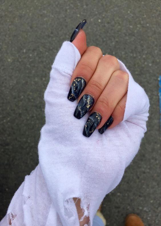 25 Most Impressive Ombre Black Long Acrylic Coffin Nails Create Your Best Impression Today Gold Nails Black Marble Nails Acrylic Nail Designs