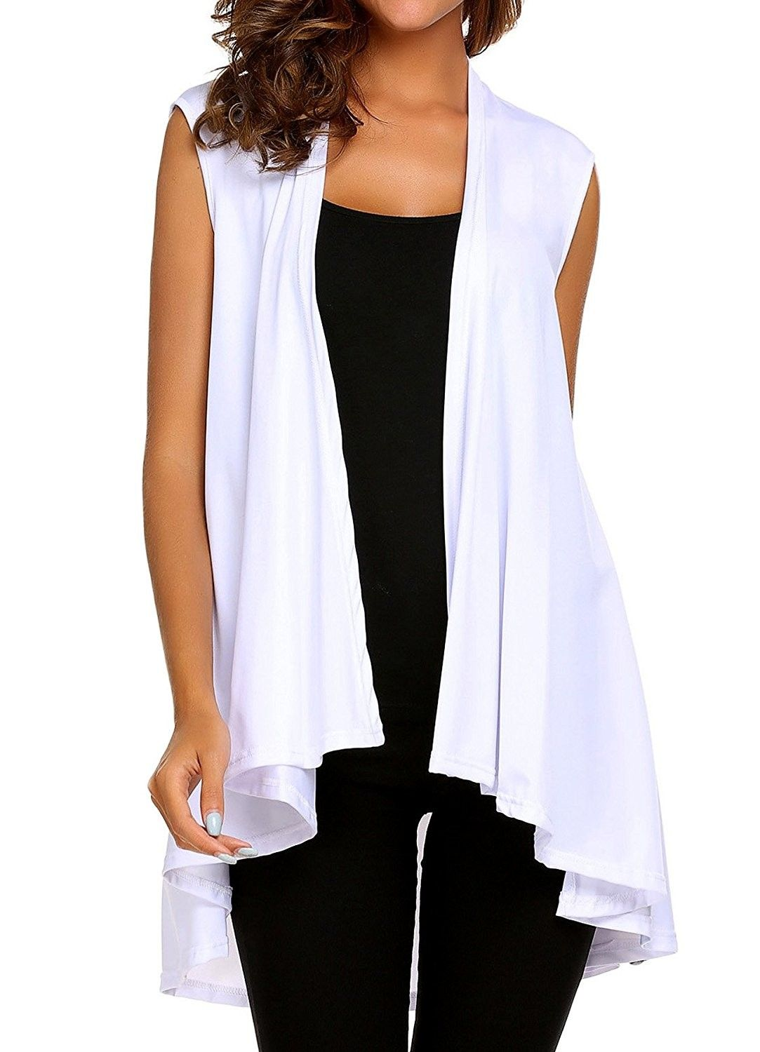 Womens Lightweight Sleeveless Asymmetrical Hem Open Front Cardigan