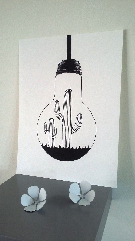 Idee Deco Cheminee Condamnee : Affiche Illustration Noir et blanc ampoule  Illustration