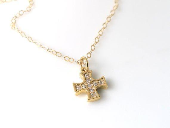Baby Cross Necklace Gold Fill, Zircon Cross Baby Infant ...