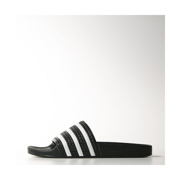 adidas adilette Slides Black (44 NZD) ❤ liked on Polyvore featuring shoes, kohl shoes, striped shoes, adidas footwear, adidas shoes and black shoes