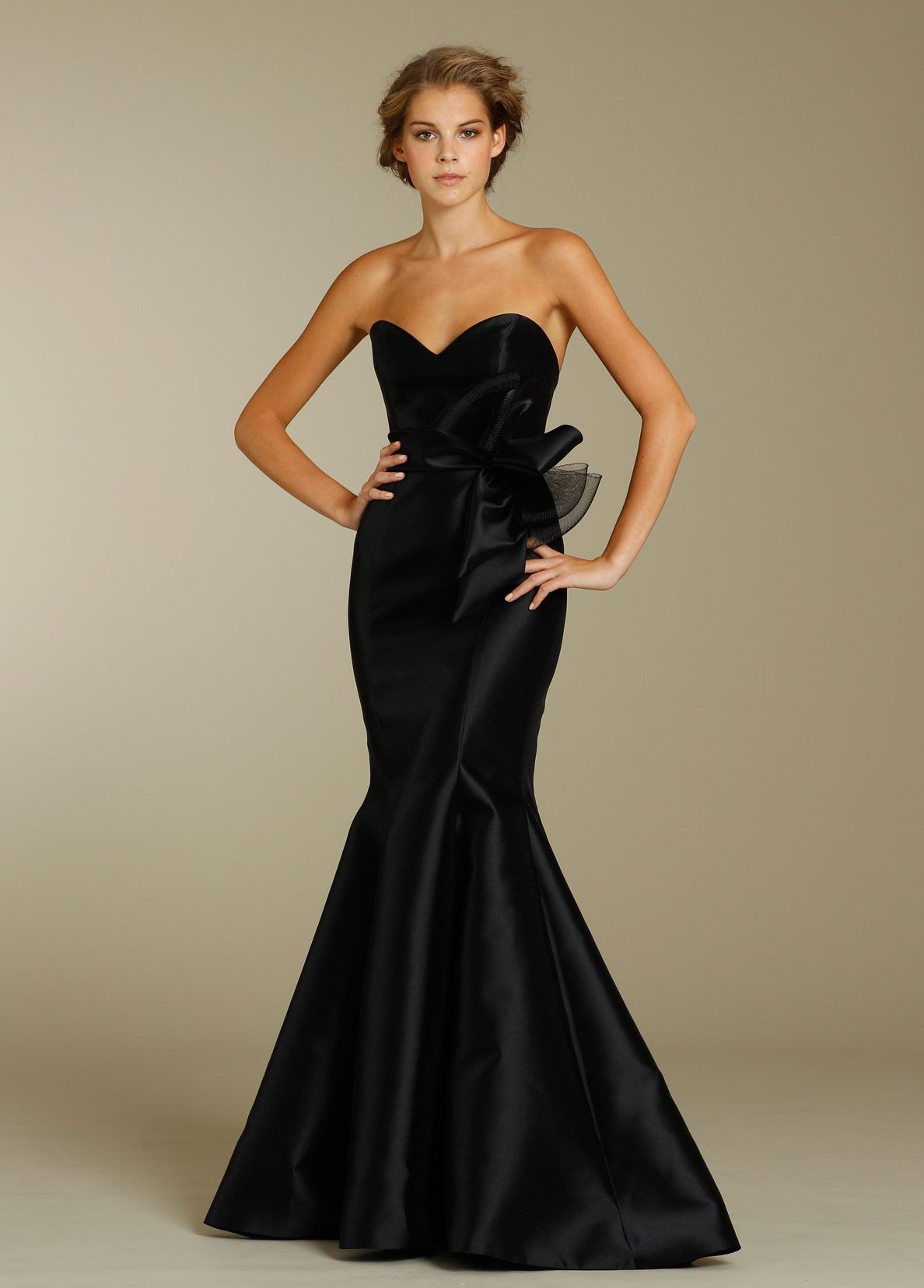 Black mikado trumpet gown strapless sweetheart neckline mikado noir by lazaro 3234 front view ombrellifo Image collections
