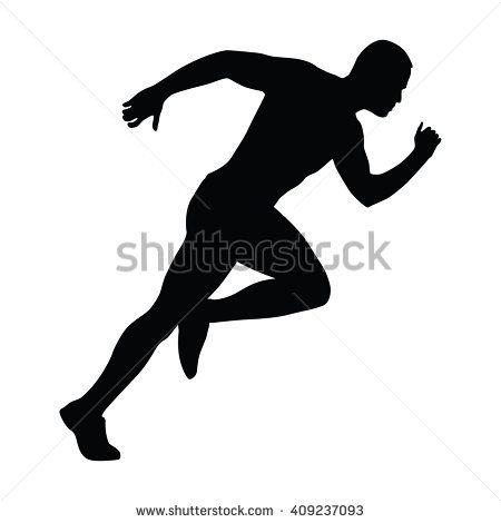 Sprinting man vector silhouette. Sprint, fast run. Runner starts running. Start.