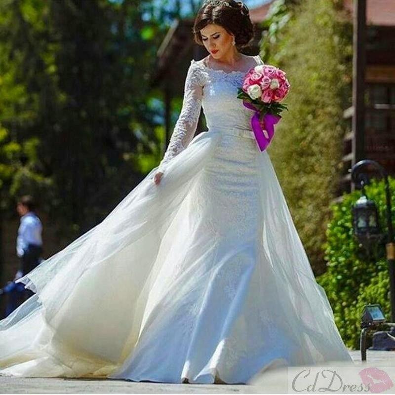 detachable train mermaid wedding dress