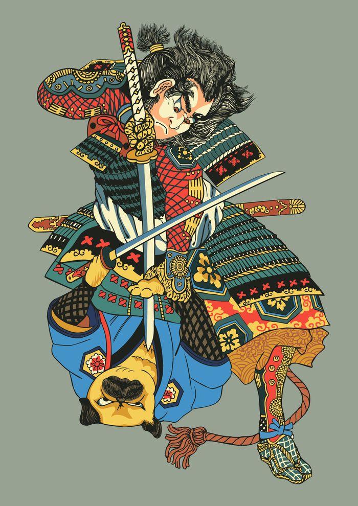 Samurai And Pug Art Print By Huebucket Society6 Affiliate Hinh Xăm Nhật Samurai Tattoo Y Tưởng Hinh Xăm