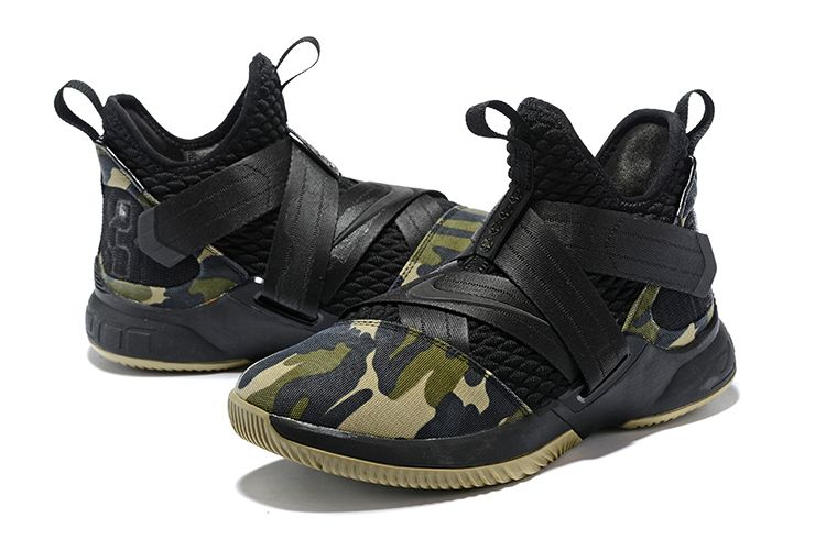 "be7439f2998 Men s Nike LeBron Soldier 12 SFG Camo"" Black Black-Hazel Rush AO4054-001"