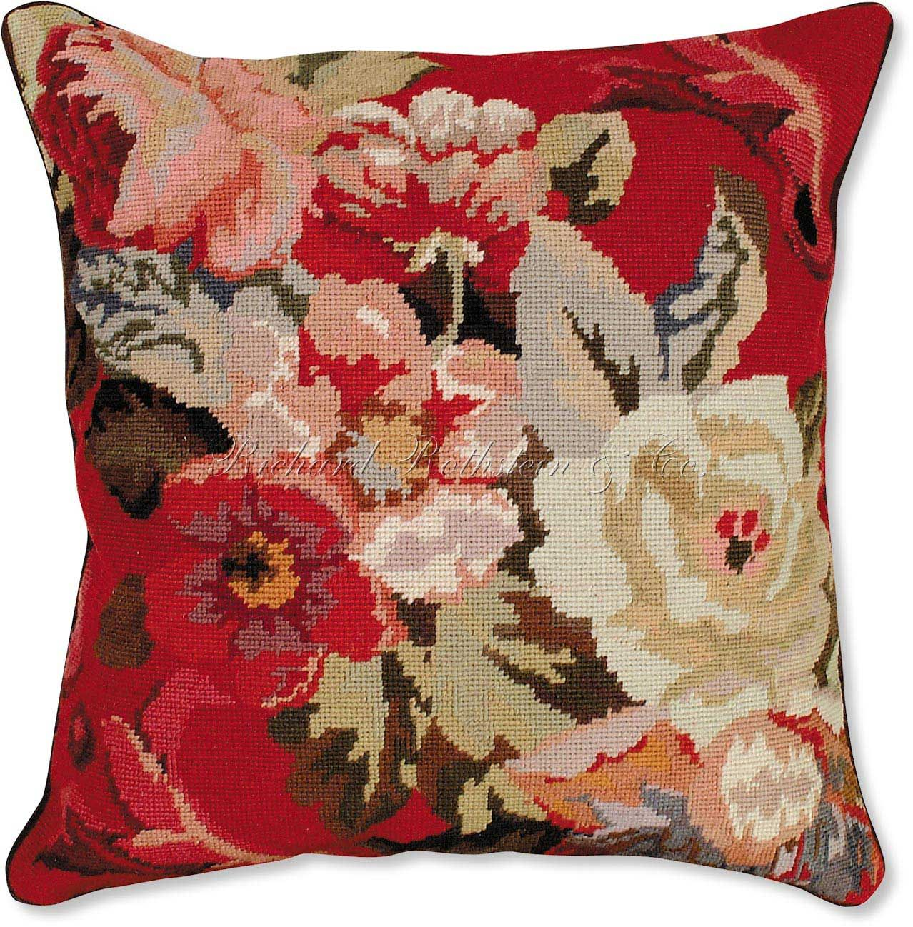 fancy sofa pillows small grey beds uk decorative roses on red needlepoint pillow