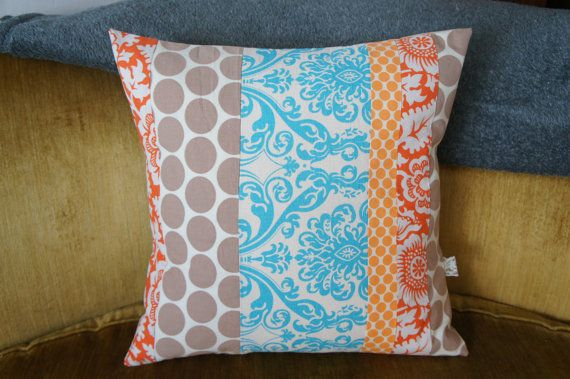 contemporary quilt pillow case 20x20 tan dots blue and by HAWThome, $32.00