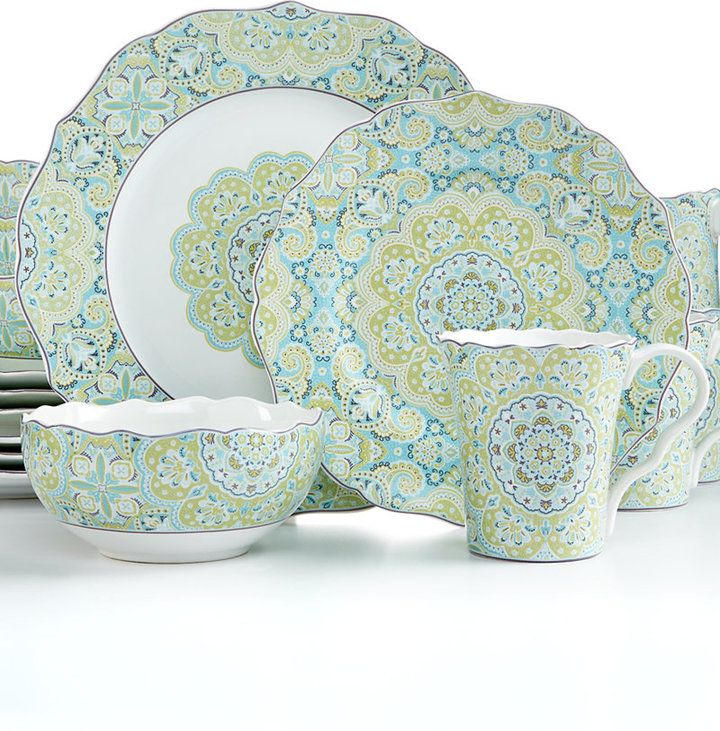 222 Fifth Lyria Teal 16-Pc. Set, Service for 4