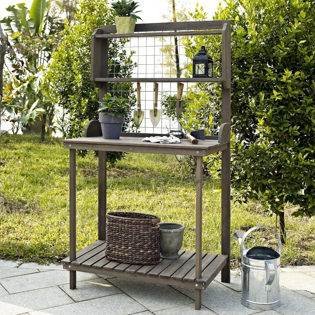 Outdoor Potting Bench With Hanging Grate In Dark Brown