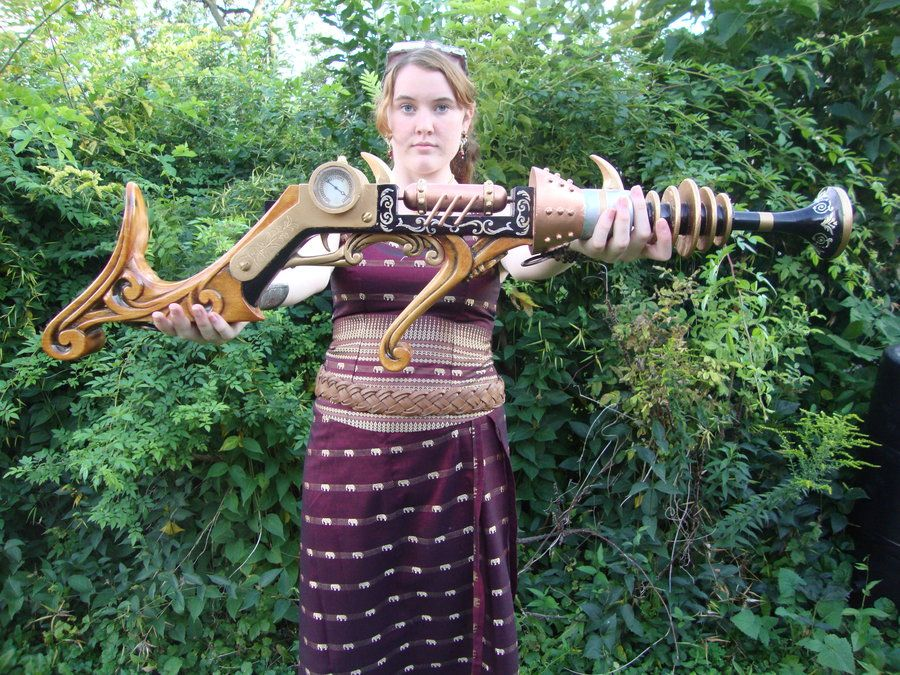 Steampunk Weapon by ~Hydrart on deviantART.  I love the carving in the stock.
