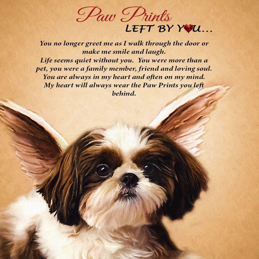 Dog Angel Quotes: Angel Paw Print Shih-TZU Plaque