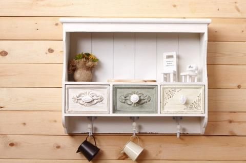 White Wall Cabinet Shabby Chic Wall Shelf With 3 Drawers 3 Hooks Living Room Be Storage Furniture Living Room Kitchen Furniture Storage Living Room Storage