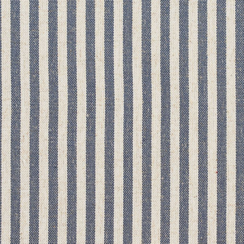 Denim Stripe Dark Blue And White Small Scale Linen Upholstery Fabric