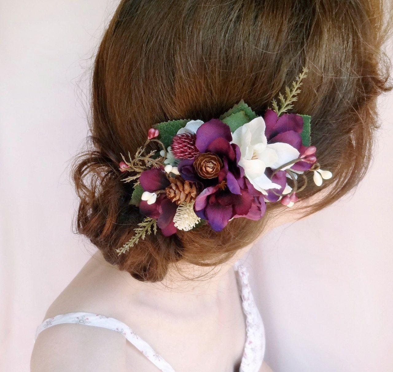 purple hair comb, bridal headpiece, purple flower hair clip