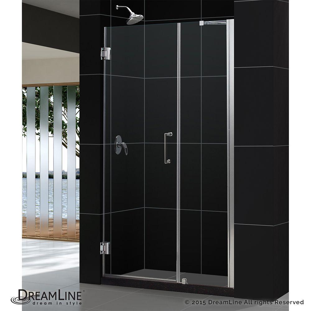 Unidoor 53 To 54 Inch X 72 Inch Frameless Hinged Pivot Shower Door In Chrome With Handle Shower Doors Frameless Hinged Shower Door Frameless Shower Doors