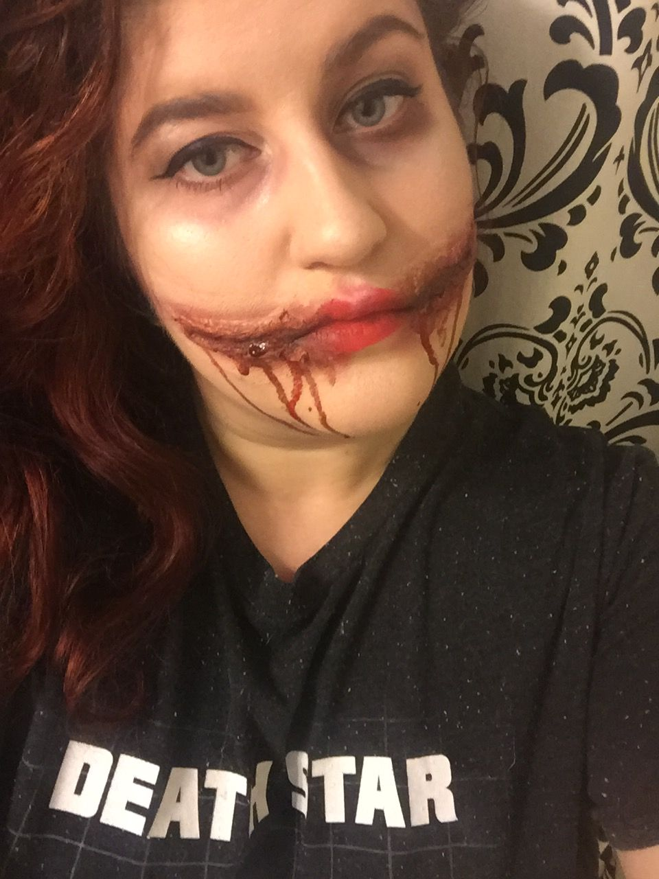 Chelsea grin or a Glasgow smile Halloween makeup