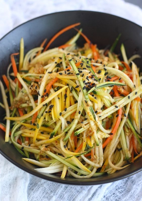 Asian zucchini Slaw with Japanese Seven Spice Dressing recipe by SeasonWithSpice.com