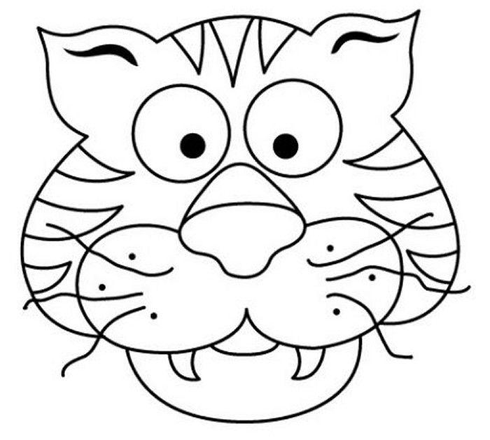mascara tigre 300x269 Mascaras de carnaval para colorear | DIBUJOS ...