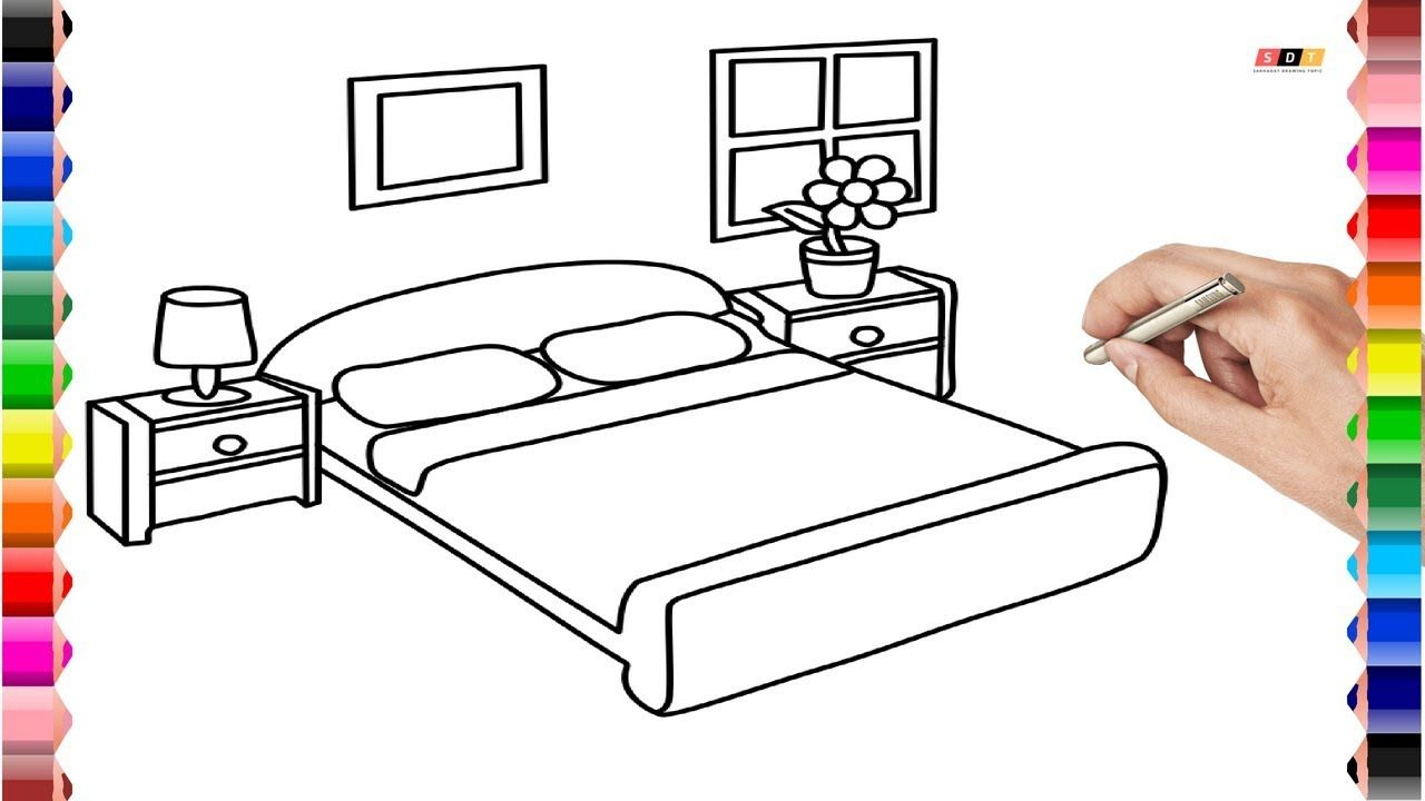 How to Draw Bedroom and Coloring Pages For Kids Easy Learn ...