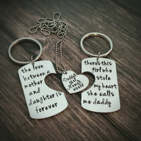 Personalized Hand Stamped Daddy Daughter Mother Keychain