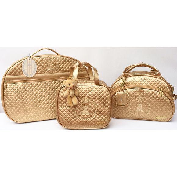 Bolsa Hug Dourada : Bolsa maternidade master luxo ouro quarto bebe