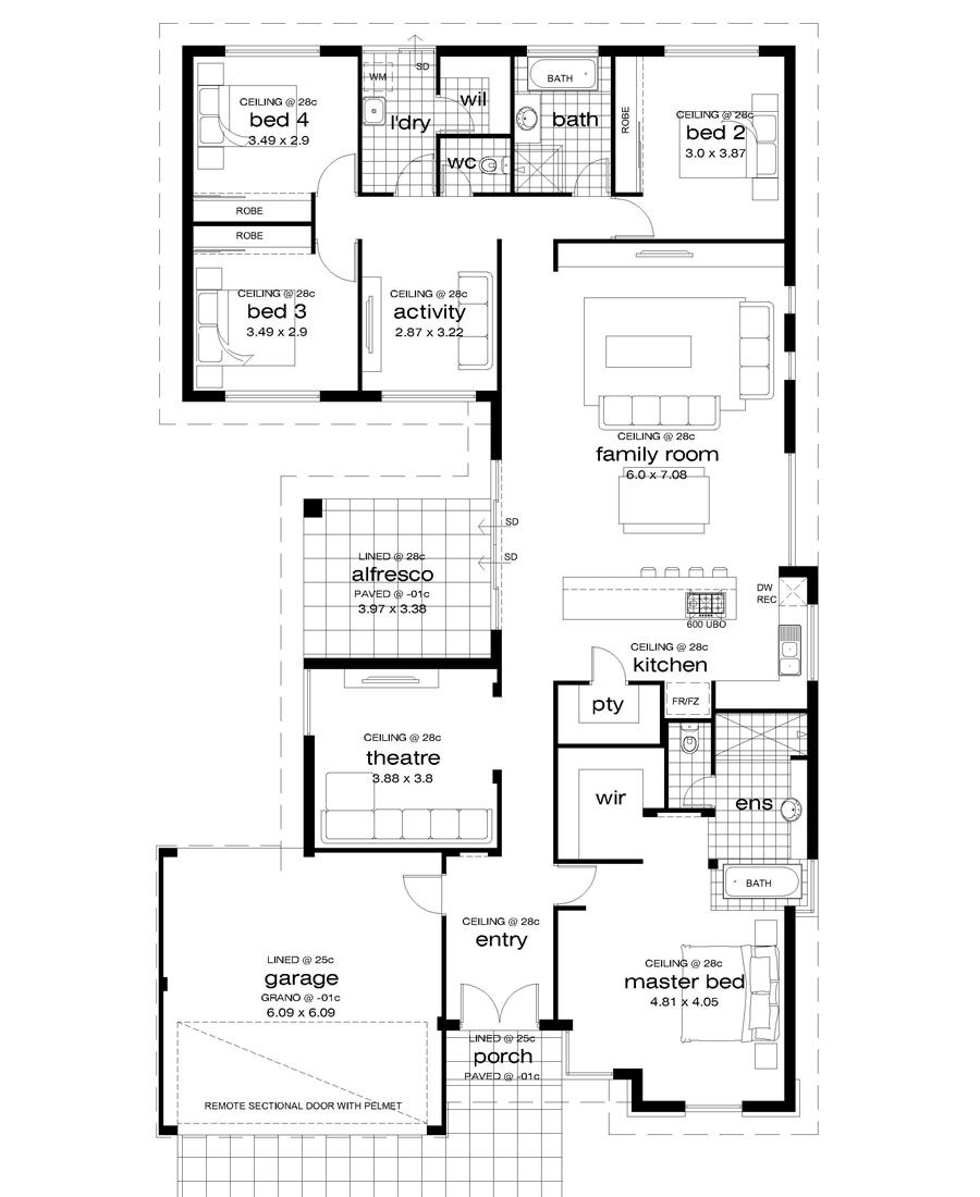 Premiere Homes 14 16m Wide Block House Plans Wide Floor Floor Plans